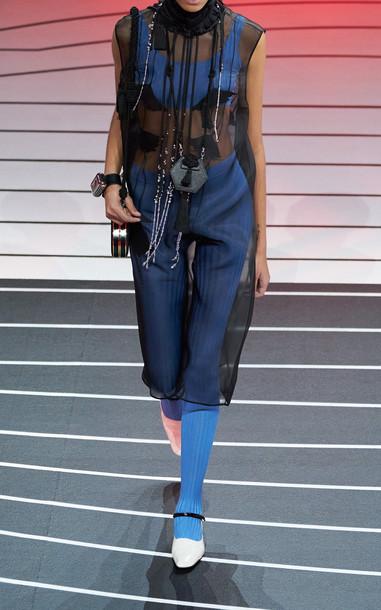 Prada Knee-Length Organza Dress in black