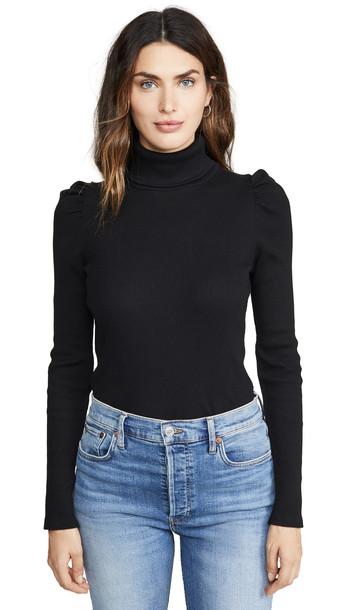 AMO Puff Sleeve Turtleneck Top in black