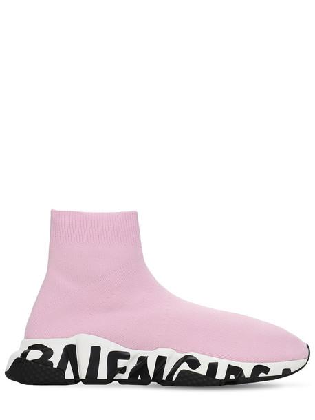 BALENCIAGA 30mm Speed Graffiti Lt Knit Sneakers in pink / white