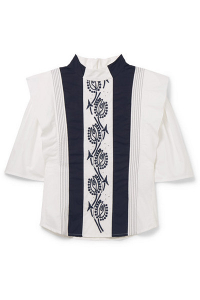 Chloé Kids - Ages 6 - 12 Embroidered Cotton Blouse in blue