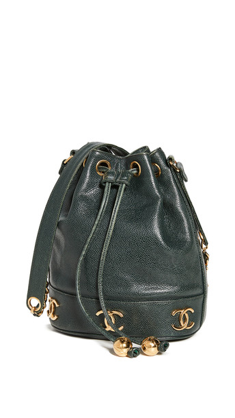 What Goes Around Comes Around Chanel Green Caviar CC Bucket Bag