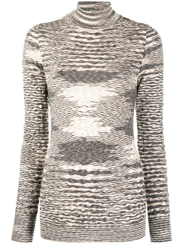 Missoni roll-neck knitted top in neutrals