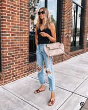 jeans,ripped jeans,slide shoes,tank top,black top,bag