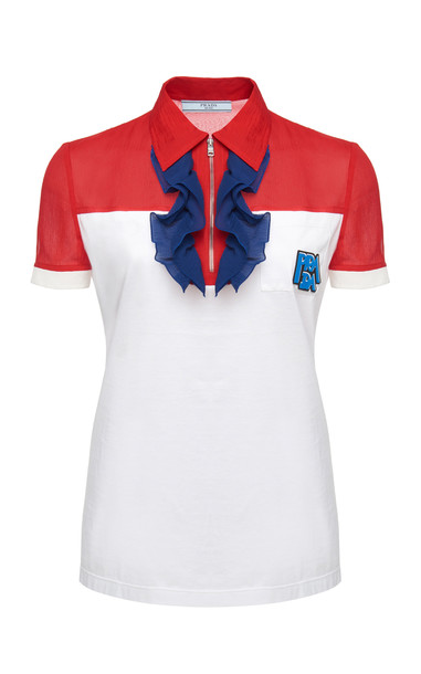 Prada Polo Top With Chiffon Ruffle Accent Size: S