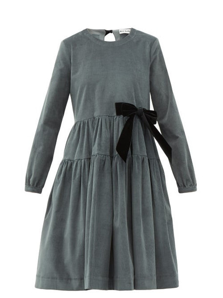 Molly Goddard - Deliah Velvet Bow Cotton Blend Corduroy Dress - Womens - Grey
