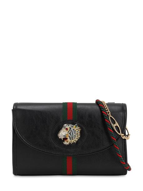 GUCCI Rajah Leather Shoulder Bag in black