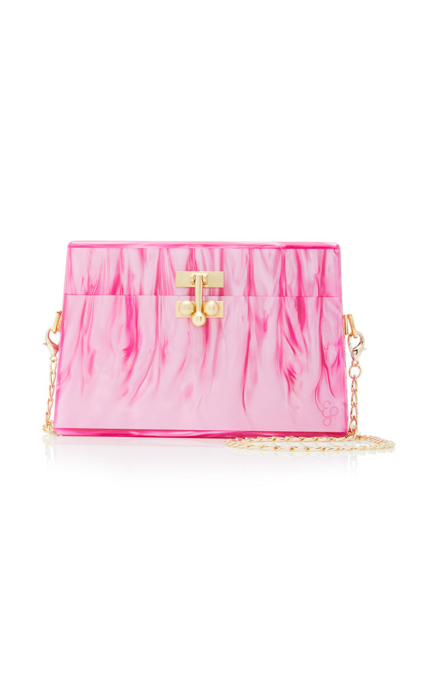 Edie Parker Miss Mini Marbled Acrylic Bag in pink