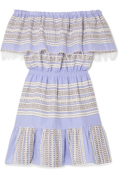 LemLem - Amira Off-the-shoulder Frayed Striped Cotton-gauze Mini Dress - Blue