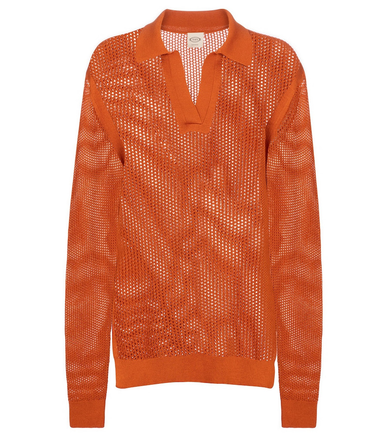 Tod's Open-knit cotton sweater in orange