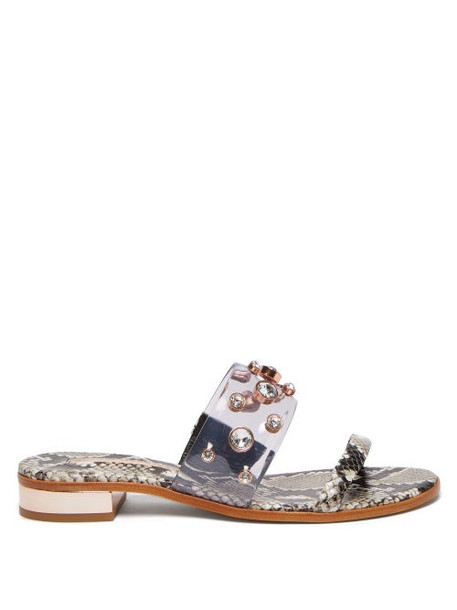 Sophia Webster - Dina Crystal Python Effect Leather Slides - Womens - Python