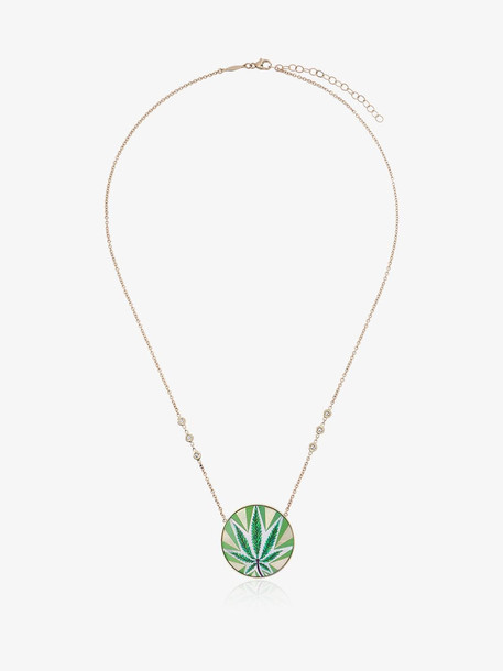 Jacquie Aiche Sweet Leaf Diamond and opal necklace in gold