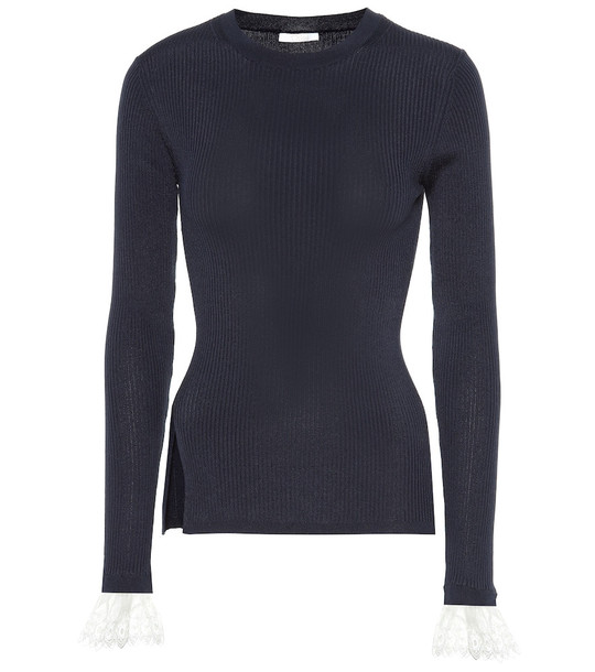Chloé Organza-trimmed ribbed-knit sweater in blue