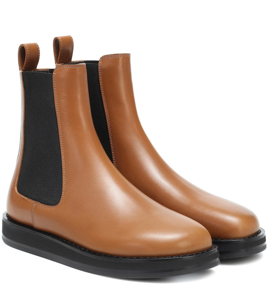 The Row Gaia leather ankle boots in brown