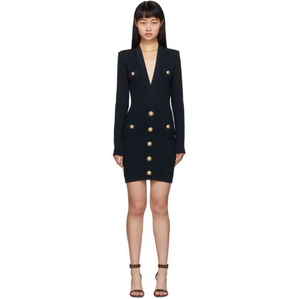 Balmain Navy Knit Short Dress