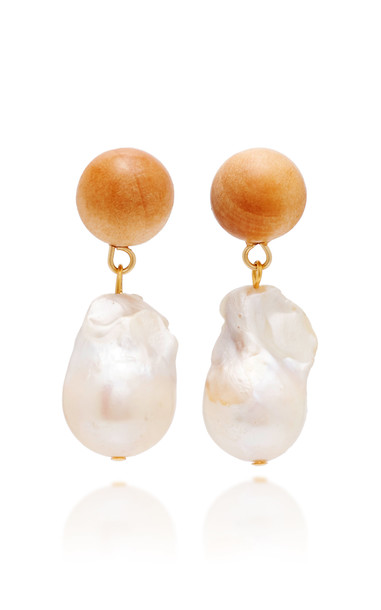 Sophie Monet Gold-Tone, Pearl And Pine Earrings in brown