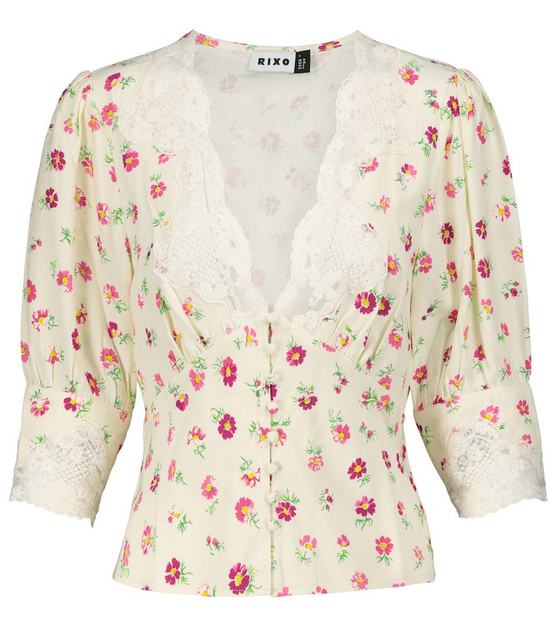 Rixo Amanda lace-trimmed floral blouse in yellow