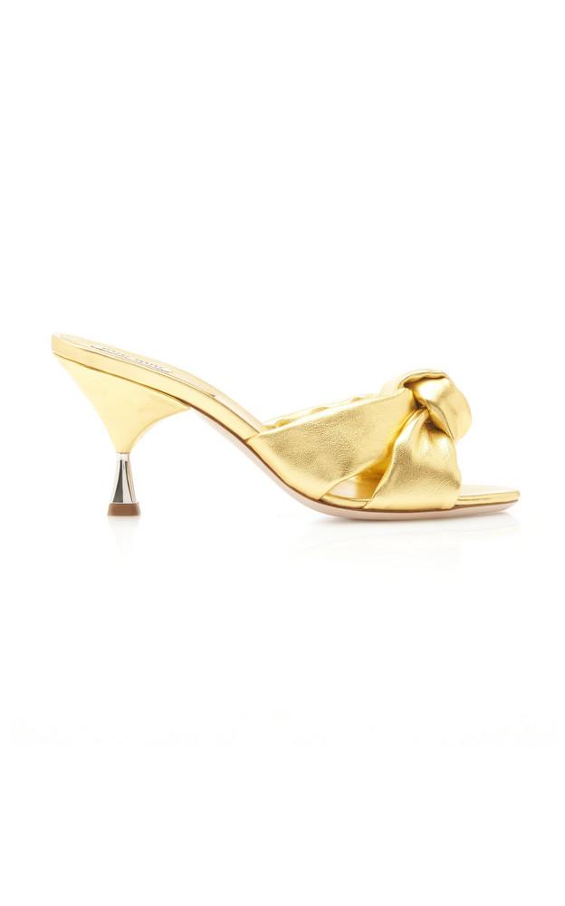 Miu Miu Knotted Metallic Leather Sandals in gold