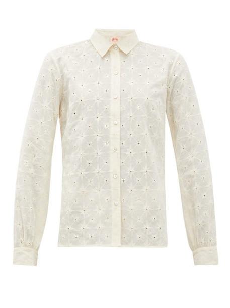 Le Sirenuse, Positano - Penny Embroidered Cotton-poplin Shirt - Womens - Cream
