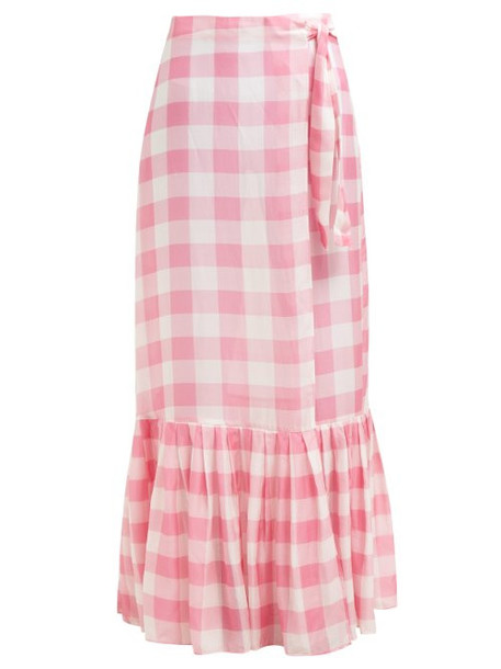 Adriana Degreas - Gingham Wrap Maxi Skirt - Womens - Pink
