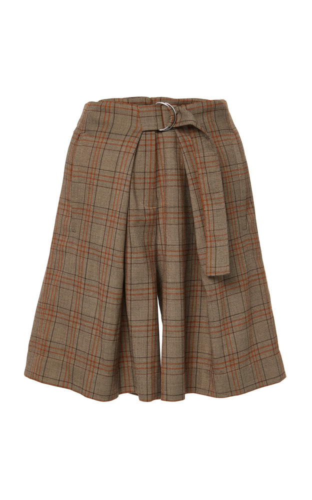 Tibi James Menswear Check Pleated Shorts in brown