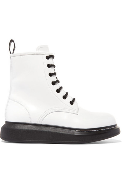 Alexander McQueen - Glossed-leather Platform Ankle Boots - White