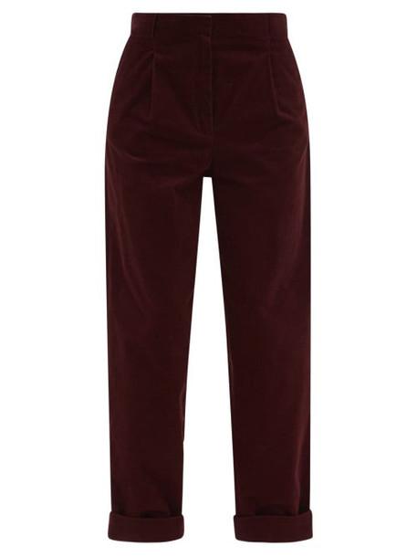 A.P.C. A.P.C. - Louise High-rise Corduroy Wide-leg Trousers - Womens - Burgundy
