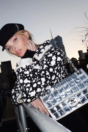 bag,silver,black and white,elsa hosk,model off-duty,instagram,fall outfits