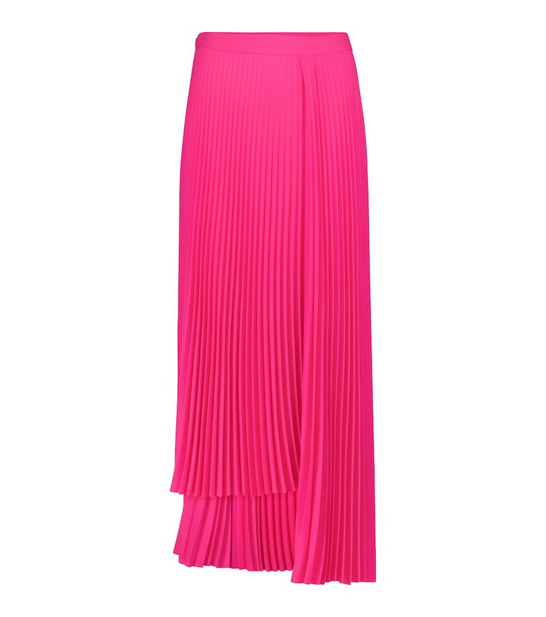 Balenciaga Pleated asymmetric crêpe skirt in pink