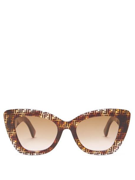 Fendi - Ff Cat-eye Tortoiseshell-acetate Sunglasses - Womens - Brown