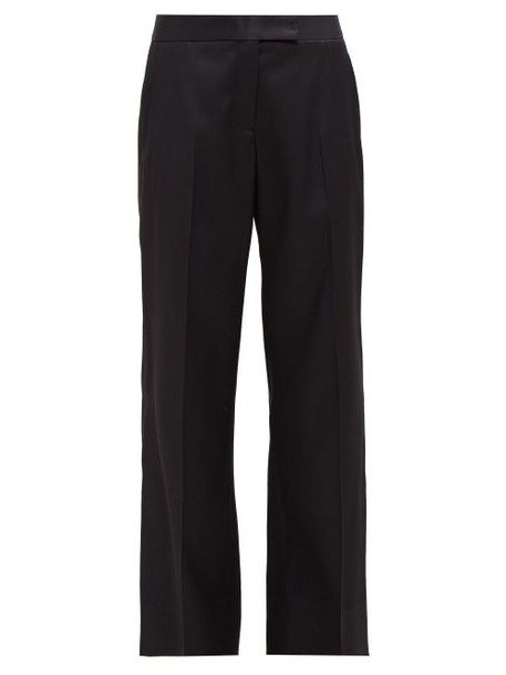 Marina Moscone - Wool Blend Crepe Straight Leg Trousers - Womens - Black