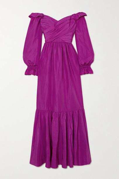 Self-Portrait - Off-the-shoulder Ruffled Taffeta Gown - Purple