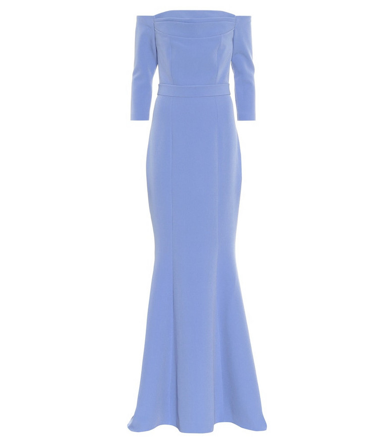 Safiyaa Off-the-shoulder crêpe gown in blue