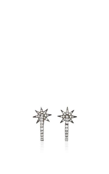 Colette Jewelry Twinkle Star 18K Oxidized Gold and Diamond Hoop Earrings in black