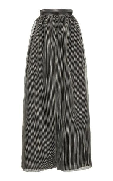 Martin Grant Striped Cotton-Silk Wide-Leg Pants in black