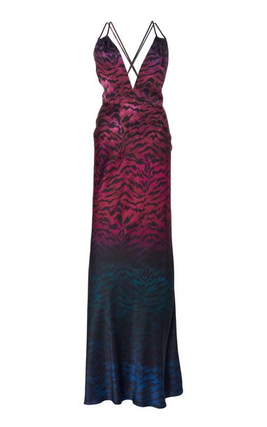 Saloni Elektra Silk-Satin Gown Size: 0 in purple