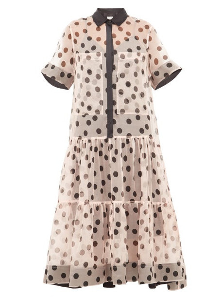 Lee Mathews - Rayne Polka Dot Silk Organza Midi Dress - Womens - Light Pink