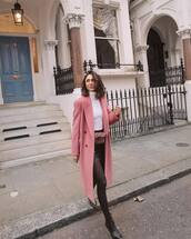 coat,pink coat,double breasted,long coat,black boots,lace up boots,tights,black skirt,pink bag,belt bag,white turtleneck top