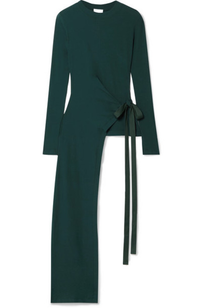 Rosetta Getty - Draped Asymmetric Stretch-cotton Jersey Wrap Top - Forest green