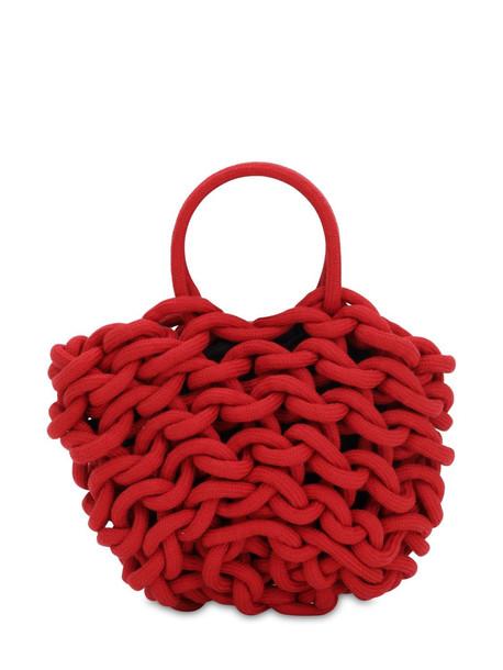 ALIENINA Julia Rope Bucket Cotton Top Handle Bag in red