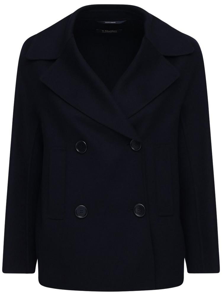 MAX MARA 'S Double Woolen Fabric Peacoat in blue
