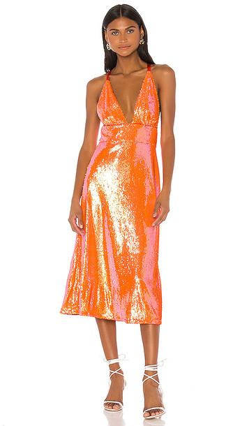 Song of Style Irena Midi Dress in Orange
