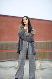 sensible stylista,blogger,bag,jumpsuit,cardigan,grey jumpsuit