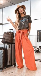 pants,palazzo pants,waist tie,orange,bellbottom pants,flowy,waist belt,high waisted