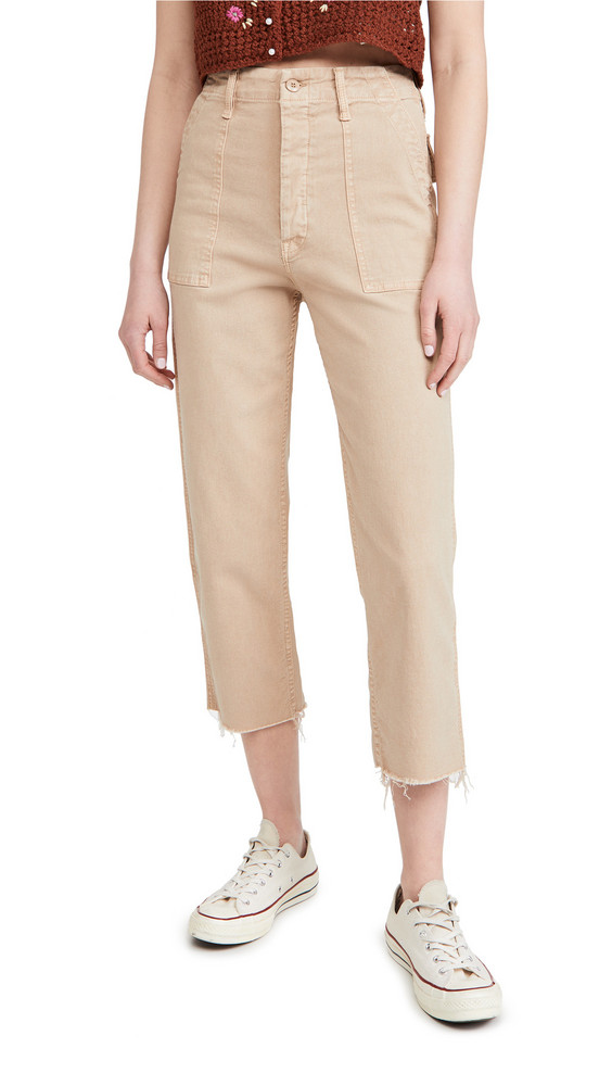 MOTHER The Patch Pocket Private Ankle Jeans in khaki