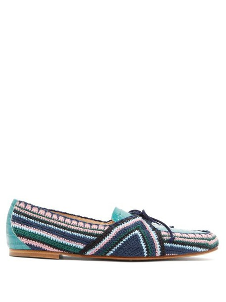 Gabriela Hearst - Hays Crocodile Effect Leather Loafers - Womens - Blue Multi