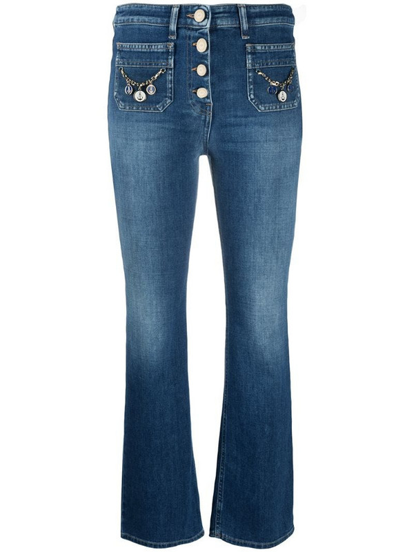 Elisabetta Franchi mid rise cropped jeans in blue
