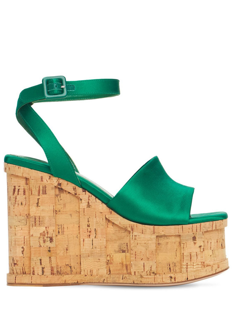 HAUS OF HONEY 125mm Palace Satin Wedges in green
