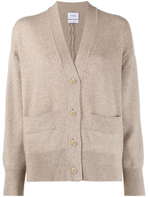 Barrie rib-detail cashmere cardigan in neutrals