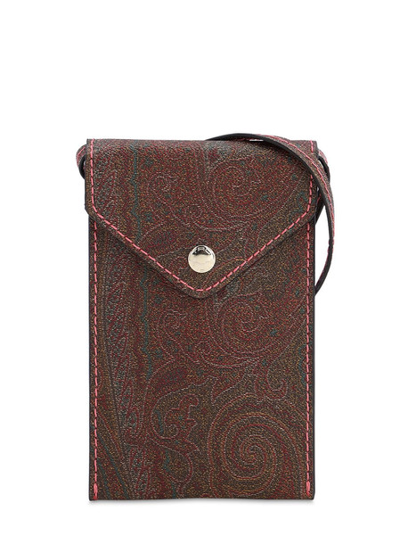 ETRO Coated Canvas Phone Holder Bag in brown