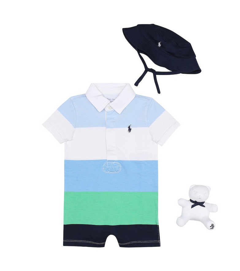 Polo Ralph Lauren Kids Baby playsuit hat and soft toy set in blue